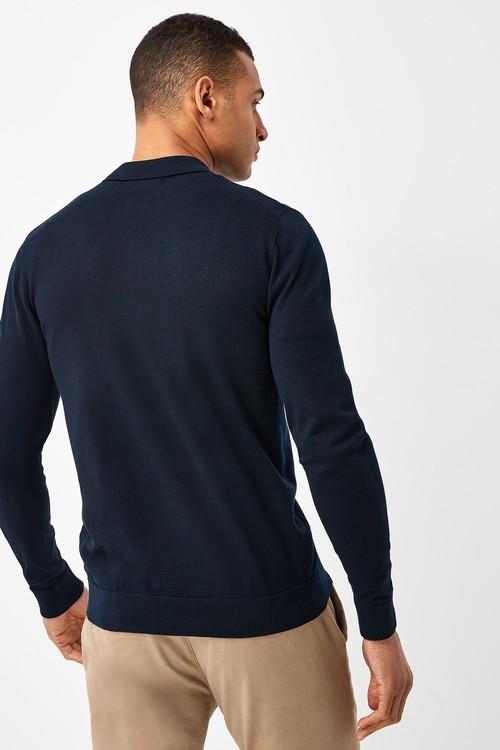 Next Knitted Zip Neck Poloshirt-Tall