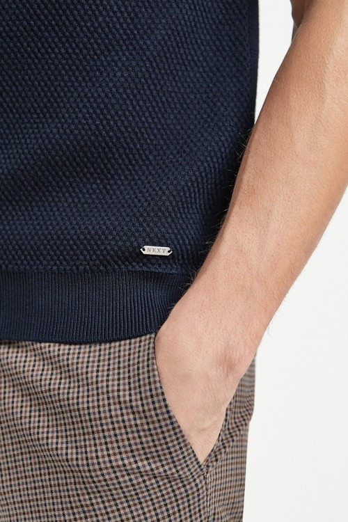 Next Bubble Textured Knitted Poloshirt