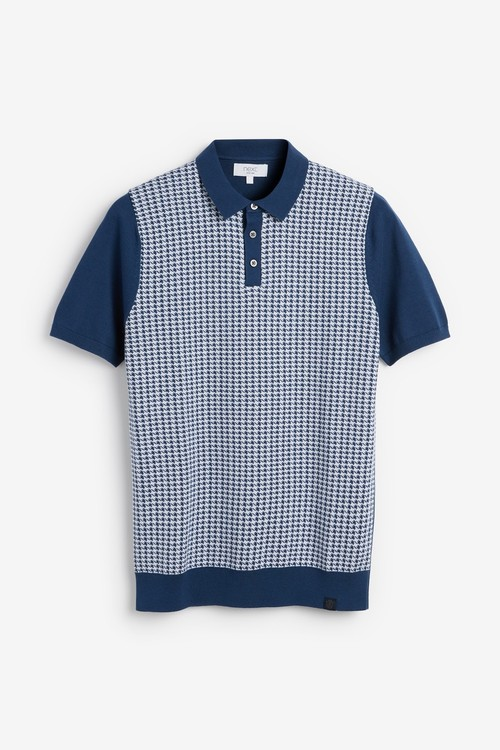 Next Short Sleeve Dogtooth Knitted Polo
