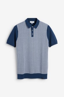 Next Short Sleeve Dogtooth Knitted Polo - 286928