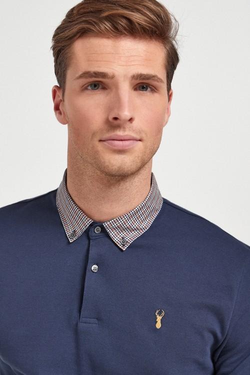 Next Check Collar Pique Poloshirt