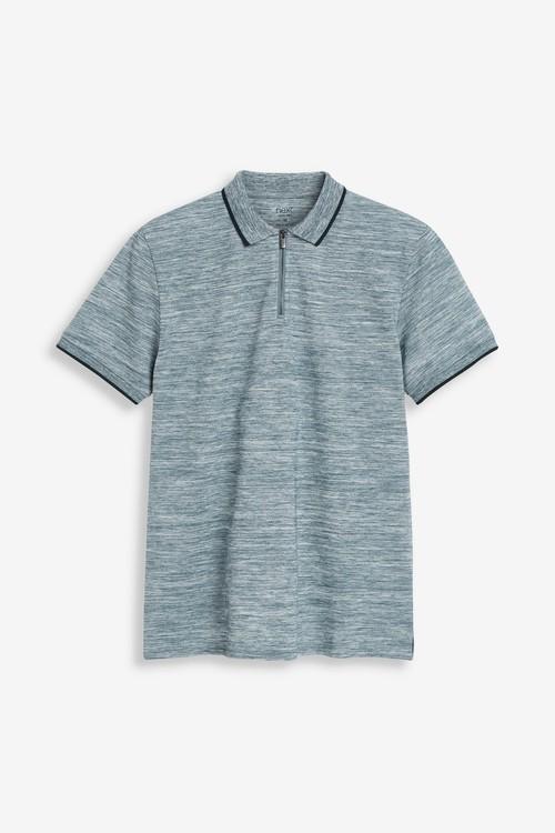 Next Injection Marl Zip Neck Poloshirt