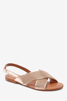 Next Two Band Bling Sandals-Wide Fit - 287115