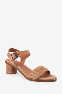 Next Leather Weave Block Sandals - 287462