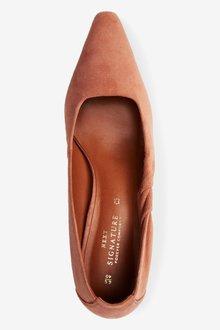 Next Signature Leather Twist Court Shoes - 287493