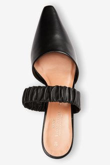 Next Signature Leather Ruched Mules - 287506