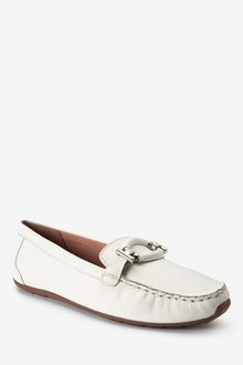 Next Leather Hardware Driver Shoes-Wide Fit - 287559