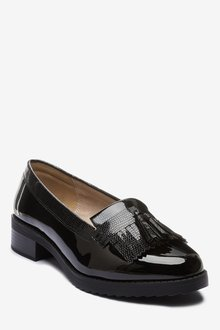 Next Extra Wide Fit Cleated Fringe Loafers - 287575