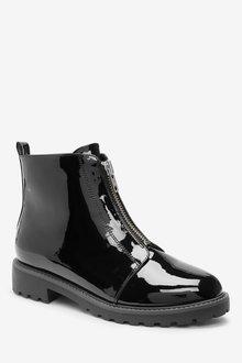 Next Forever Comfort Black Front Zip Boots - 287648
