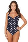 Nip Tuck Swim Navy Ava Spot Bette Pin Up Style Halter Design Tummy Control