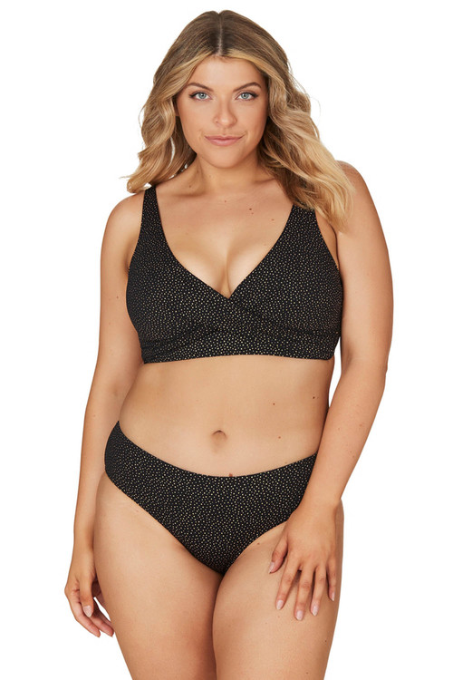Nip Tuck Swim Black Foil Piquet Louise Bikini Tummy Control Bikini Set