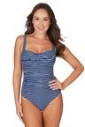 Nip Tuck Swim Riviera Stripe Denim Joanne Twist Front Design Tummy Control