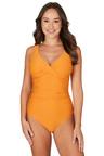 Nip Tuck Swim Omega Orange Louise Cross Front Tummy Control One Piece