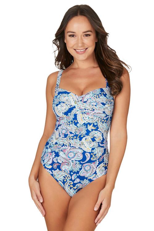 Nip Tuck Swim Paisley Shade Blue Joanne Twist Front Design Tummy Control One