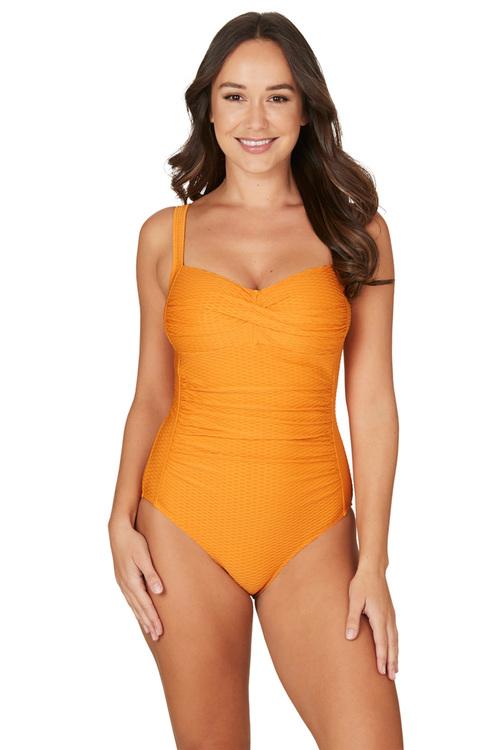 Nip Tuck Swim Omega Orange Joanne Twist Front Design Tummy Control One Piece