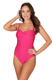 Nip Tuck Omega Pink Joanne Twist Front Design Tummy Control One Piece - 288229