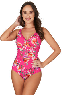 Nip Tuck Paradise Splice Pink Louise Cross Front Tummy Control One Piece - 288230