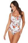 Nip Tuck Swim Paradise Splice White Joanne Twist Front Design Tummy Control