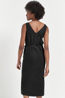 Next Linen Look Belted Midi Dress - 288248