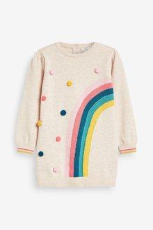 Next Rainbow Pom Jumper Dress (12mths-7yrs) - 288392