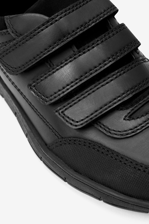 Next Thinsulate Lined Black Leather Strap Touch Fasten Shoes (Older)-Narrow Fit