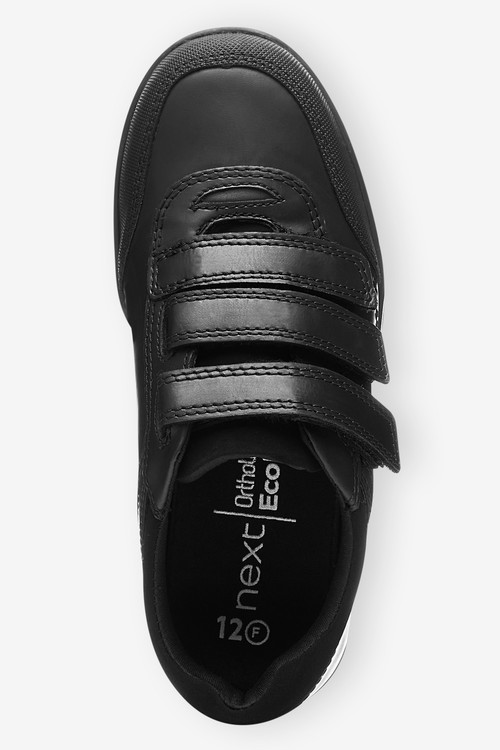 Next Thinsulate Lined Black Leather Strap Touch Fasten Shoes (Older)