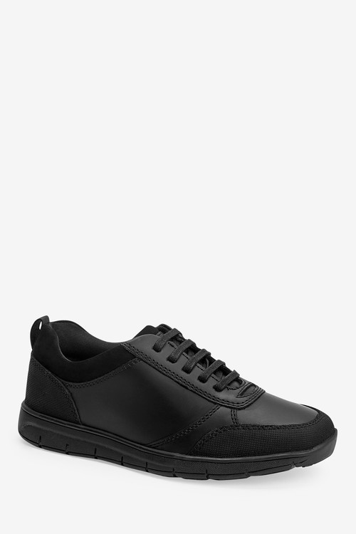 Next Thinsulate Lined Black Leather Lace-Up Shoes (Older)