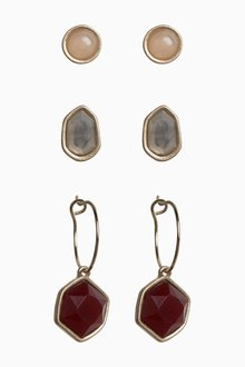 Next Stone Stud And Hoop Earrings Three Pack - 288723