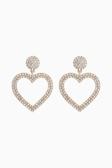 Next Statement Pave Heart Earrings - 288727