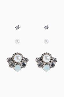 Next Pearl Effect Stud Earrings Three Pack - 288731