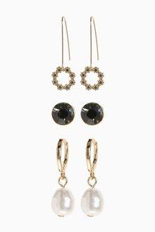 Next Pearl Effect Earrings Three Pack - 288738