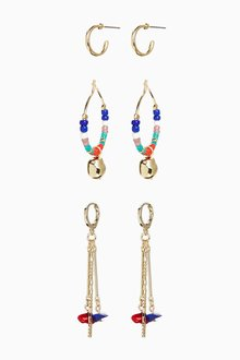 Next Colourful Beaded Earrings 3 Pack - 288745