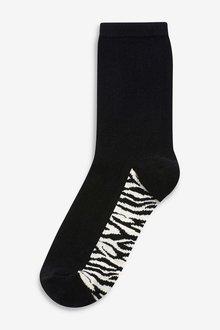 Next Animal Print Footbed Ankle Socks Five Pack - 288877