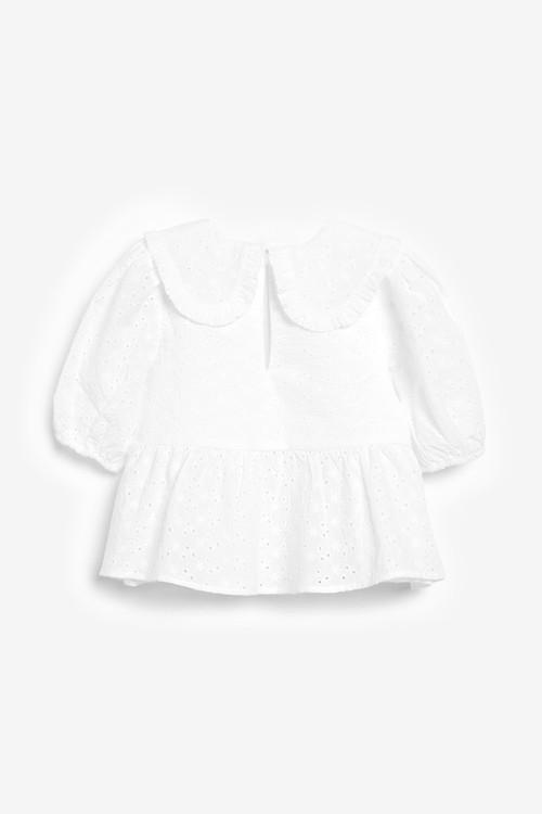 Next Cotton Broderie Collar Blouse (3-16yrs)