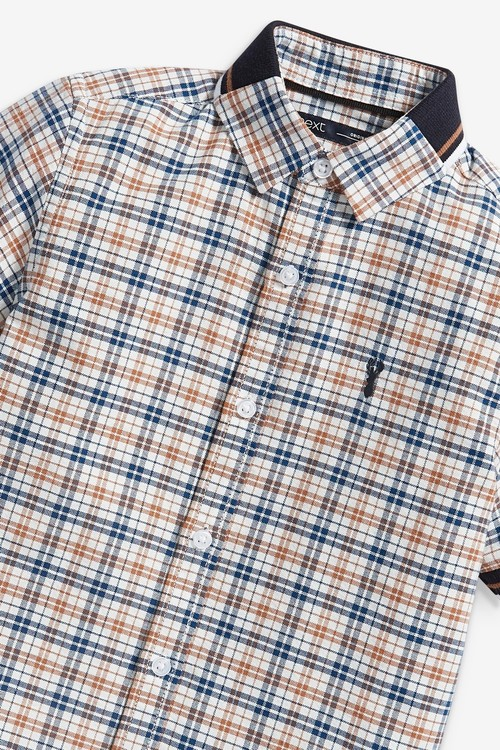 Next Short Sleeve Checked Shirt With Jersey Collar (3-16yrs)