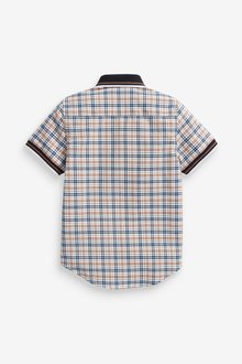 Next Short Sleeve Checked Shirt With Jersey Collar (3-16yrs) - 289244
