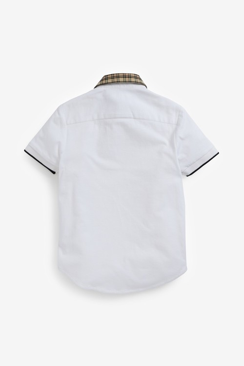 Next Short Sleeve Shirt With Jersey Sleeves and Check Collar (3-16yrs)
