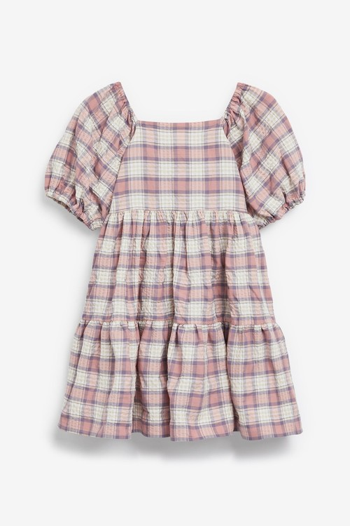 Next Cotton Check Tiered Dress (3-16yrs)