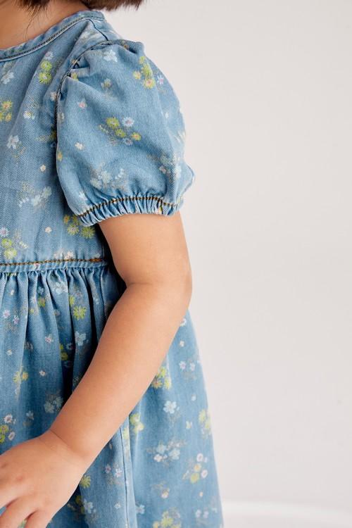 Next Puff Sleeve Denim Dress (3mths-7yrs)