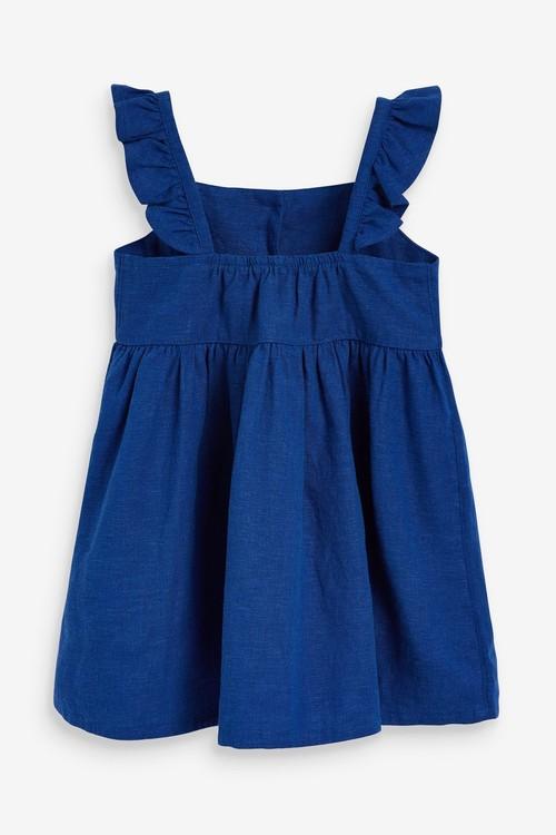 Next Frill Detail Linen Blend Dress (3mths-7yrs)