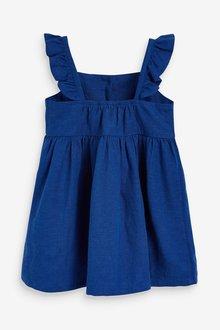 Next Frill Detail Linen Blend Dress (3mths-7yrs) - 289348
