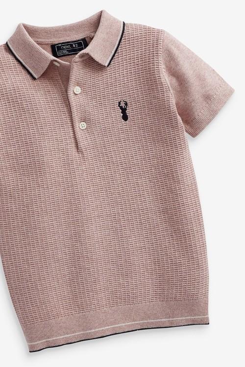 Next Textured Knitted Poloshirt (3-16yrs)