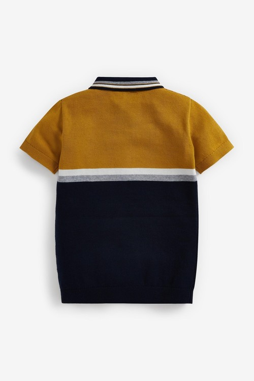 Next Knitted Colourblock Zip Neck Polo (3-16yrs)
