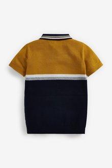 Next Knitted Colourblock Zip Neck Polo (3-16yrs) - 289374