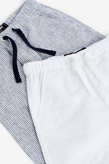 Next 2 Pack Linen Blend Trousers (3mths-7yrs) - 289376