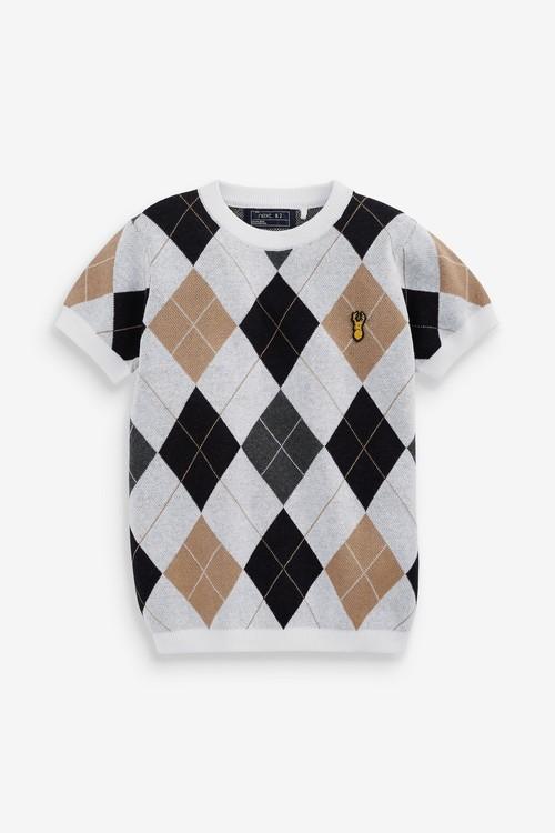 Next Knitted Argyle Pattern T-Shirt (3-16yrs)