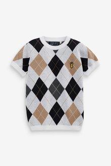 Next Knitted Argyle Pattern T-Shirt (3-16yrs) - 289377
