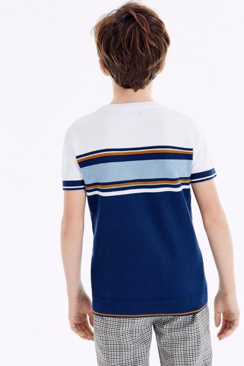 Next Textured Knitted Chest Stripe T-Shirt (3-16yrs)