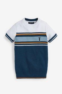 Next Textured Knitted Chest Stripe T-Shirt (3-16yrs) - 289381