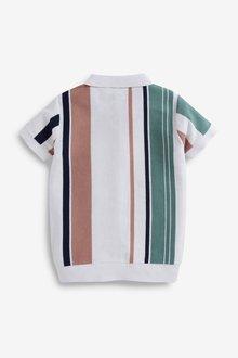 Next Vertical Stripe Knitted Poloshirt (3-16yrs) - 289384